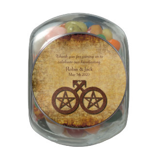 Gay Grooms Favors Jelly Belly Jar - Wiccan Rustic Jelly Belly Candy Jars