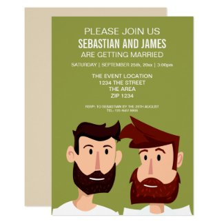 Gay Grooms With Beards Cartoon Wedding Themed Card