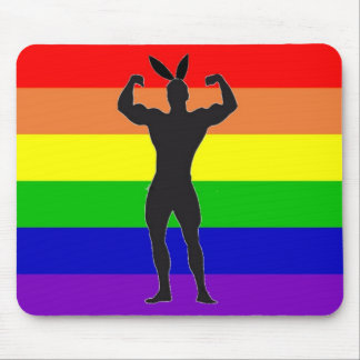 Gay Gym Bunny Pride Mouse Pad