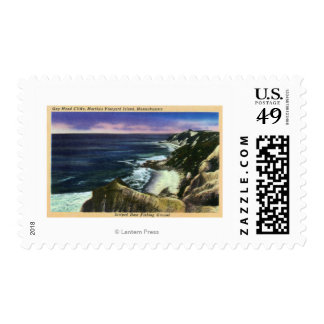 Gay Head Cliffs, Striped Bass Fishing Grounds Postage