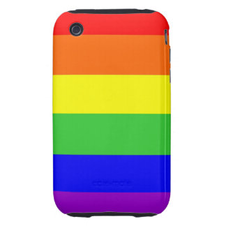 gay homosexual lesbian proud rainbow colors flag tough iPhone 3 case