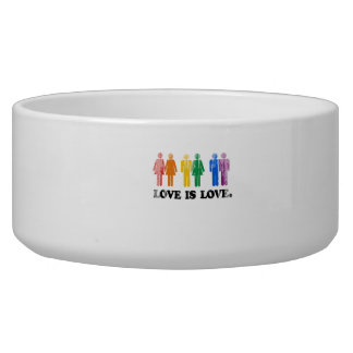 Gay Humor Love is love colors Faded.png Dog Food Bowl