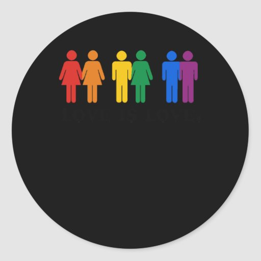 Gay Humor Love is love colors Round Stickers