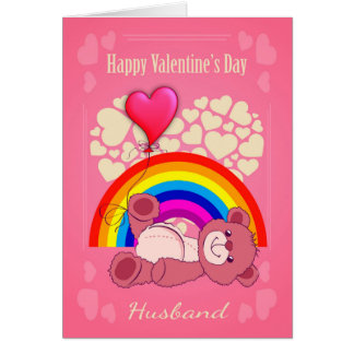 gay husband valentines day with teddy bear card