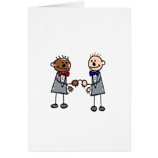 Gay Interracial Couple Greeting Card