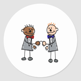Gay Interracial Couple Classic Round Sticker