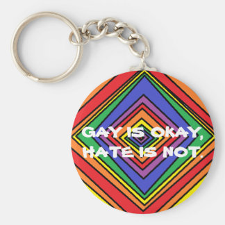 GAY IS OKAY BASIC ROUND BUTTON KEYCHAIN