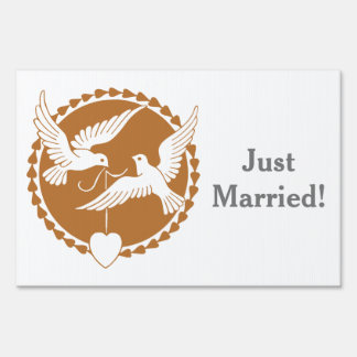 Gay Just Wedding Yard Sign Classy Love Doves
