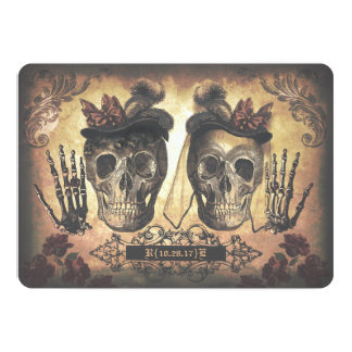 Gay Lesbian Female Couple Skulls Gothic Wedding Invitation