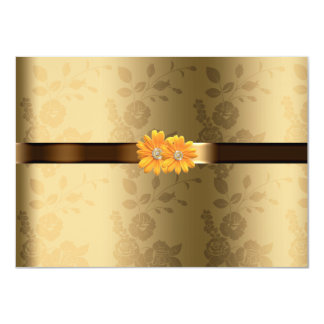 Gay/Lesbian Gold & Chocolate Brown Yellow Flowers Invite