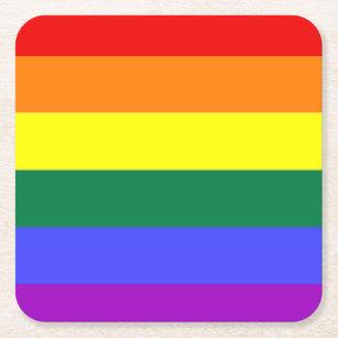 Gay Lesbian LGBT Rainbow Pride Flag Square Paper Coaster