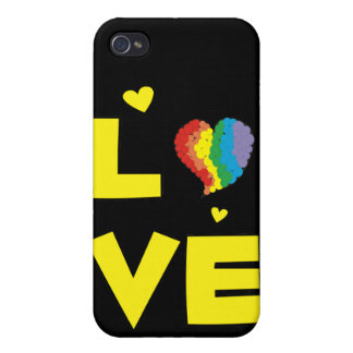 """Gay Lesbian """"Love"""" Pride Heart Gifts iPhone 4 Cases"""