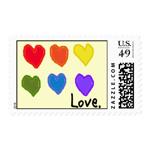 """Gay/Lesbian """"LOVE"""" Rainbow Hearts postage stamps"""