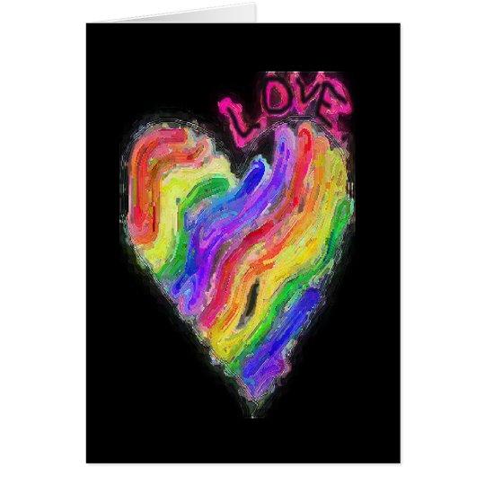 """Gay Lesbian Rainbow Heart """"Love"""" Card"""