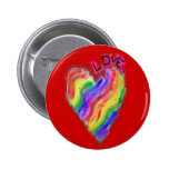 "Gay Lesbian Rainbow Heart ""Love"" Pinback Button"