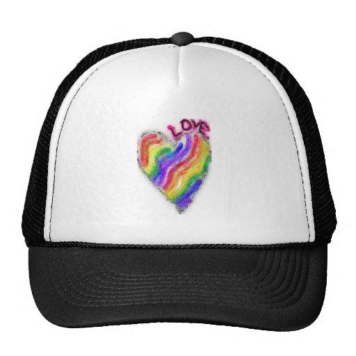 "Gay Lesbian Rainbow Heart ""Love"" Trucker Hat"