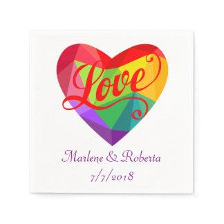Gay Lesbian Rainbow Heart Wedding Personalized Nap Paper Napkin