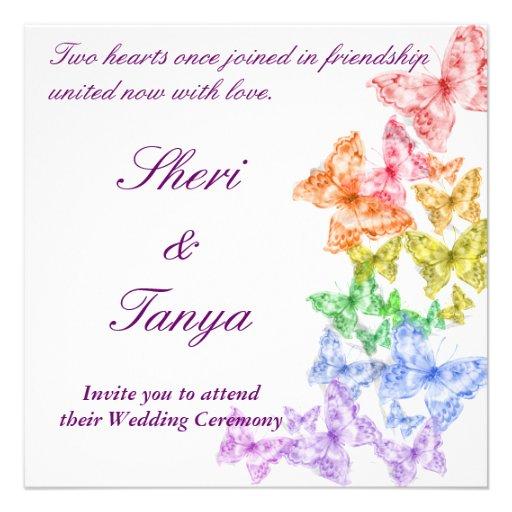Gay Lesbian Rainbow Wedding Ceremony Invitation