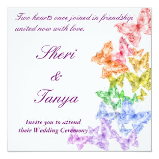 Gay Lesbian Rainbow Wedding Ceremony Invitation