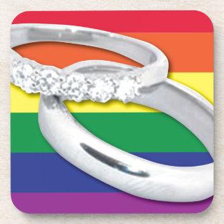 Gay Lesbian Wedding Beverage Coaster