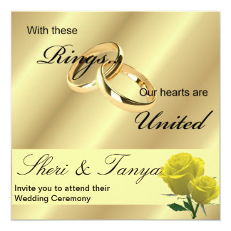 Gay Lesbian Wedding Ceremony Invitation Gold