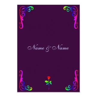 "Gay LGBT Wedding Invitation- Rainbow & Purple 5"" X 7"" Invitation Card"