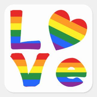Gay Love Rainbow Square Sticker