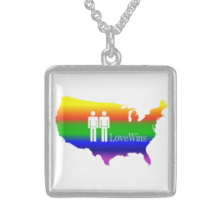 Gay Love Wins! Square Pendant Necklace