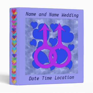 Gay Male Marriage Hearts 3 Ring Binder