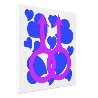 Gay Male Marriage Hearts Stretched Canvas Prints