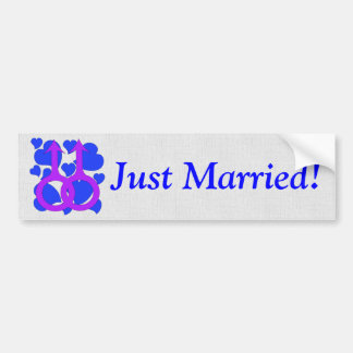 Gay Male Marriage Hearts Car Bumper Sticker