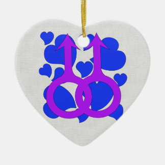 Gay Male Marriage Hearts Ceramic Ornament