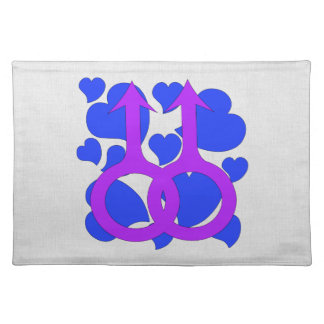 Gay Male Marriage Hearts Cloth Placemat