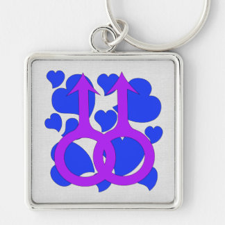Gay Male Marriage Hearts Keychain