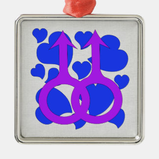 Gay Male Marriage Hearts Metal Ornament