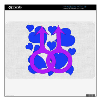 """Gay Male Marriage Hearts 11"""" MacBook Air Decal"""