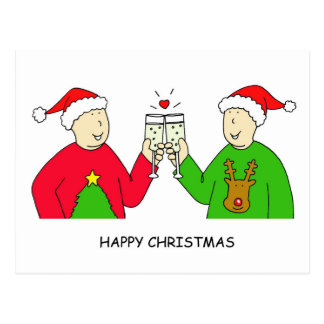 Gay Male Partner Happy Christmas Postcards