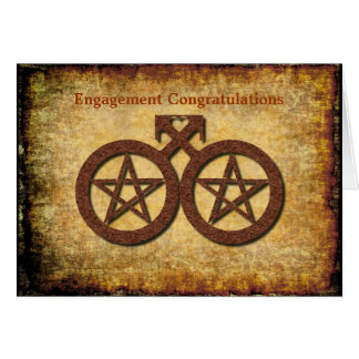 Gay Male Pentacle Loveheart Engagement Card