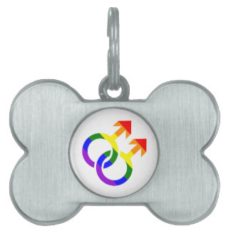 Gay male rainbow pet tag