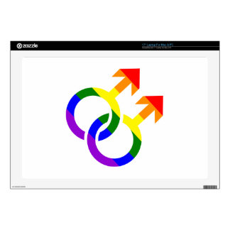 """Gay male rainbow 17"""" laptop decals"""