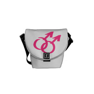 Gay male signs messenger bags