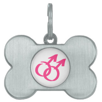 Gay male signs pet name tag