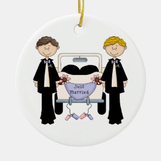 Gay Male Wedding Just Married Tees and Gifts Ceramic Ornament