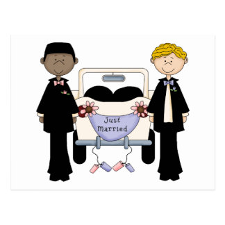 Gay Male Wedding Just Married Tees and Gifts Postcard