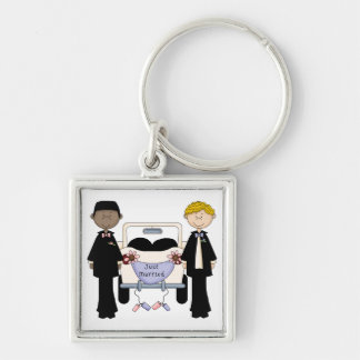 Gay Male Wedding Just Married Tees and Gifts Silver-Colored Square Keychain