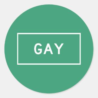 Gay, marcador del camino, Michigan, los E.E.U.U. Pegatina Redonda