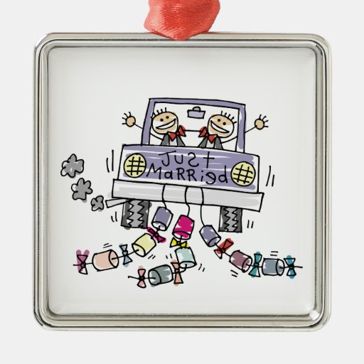 Gay Marriage Groom Just Married Square Metal Christmas Ornament