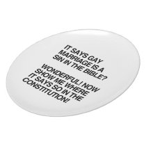 GAY MARRIAGE IS A SIN IN THE BIBLE PARTY PLATE