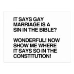 GAY MARRIAGE IS A SIN IN THE BIBLE POST CARD