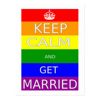 Gay Marriage Keep calm and Get Married - Postcards